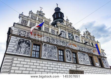 Historic city hall in Stribro. Stribro Pilsen Czech Republic.