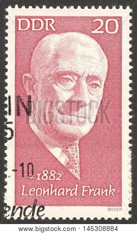MOSCOW RUSSIA - CIRCA AUGUST 2016: a stamp printed in DDR shows a portrait of Leonhard Frank the series