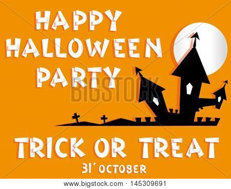 Holiday background. Title Happy Halloween party Trick or Treat from pieces paper and scary castle vampire crosses. Concept banner flyer poster. Vector illustration in flat style or baby applique poster