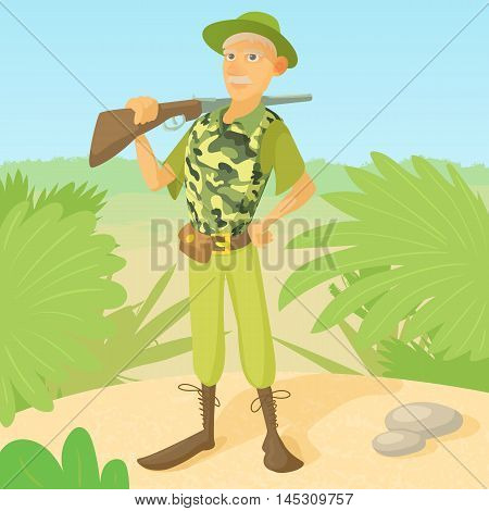 Hunter with rifle on shoulder concept. Hunter man standing on the savannah background