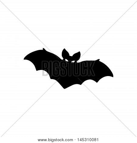 Bat Icon. Halloween vector illustration. Simple silhouette of a bat.