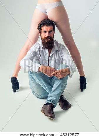 Bearded Man With Female Legs And Buttocks