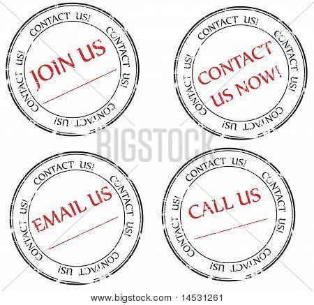 Contact us, Email us, Join us message on stamp