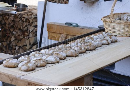 Loafs of bread baked using a traditional oven