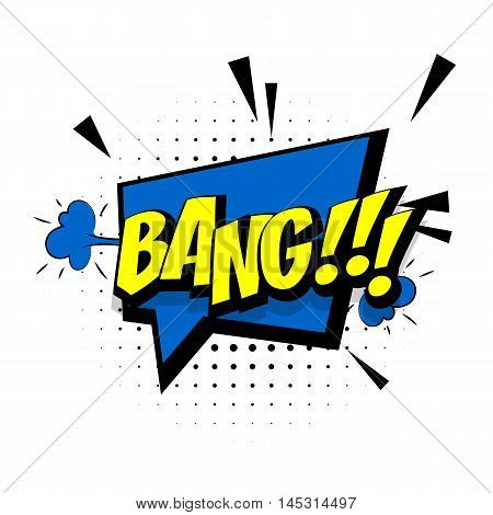 Comic sound effects pop art vector style. Sound bubble speech with word and comic cartoon expression sounds illustration. Lettering bang. Comics book background template.