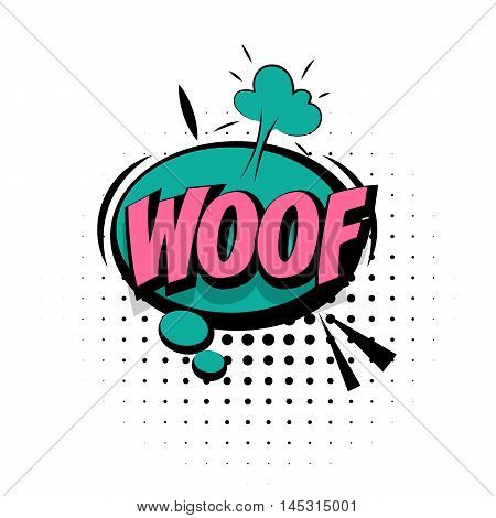 Comic sound effects pop art vector style. Sound bubble speech with word and comic cartoon expression sounds illustration. Lettering Woof dog. Comics book background template.