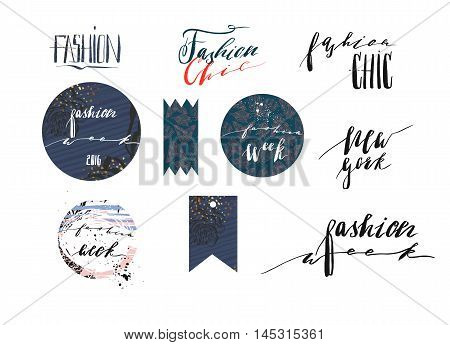 Hand drawn vector template collection with handwritten lettering phases New York fashion week and fashion Chic.Bannerspostersstickerssign and design elements for fashion blog or show.
