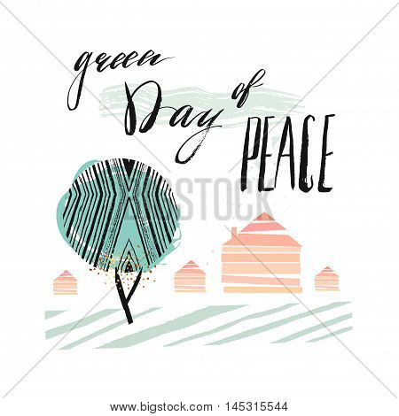International Day of Peace Poster Templates with green abstract tree houses and handwritten lettering phase Green day of peace isolated on white background.