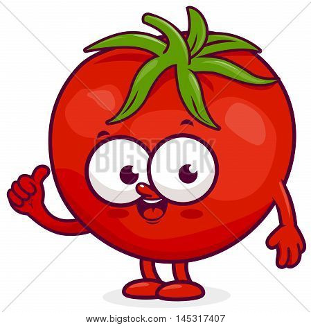 Vector illustration of a smiling cartoon fresh tomato