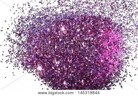 Purple glitter sparkle on the white background