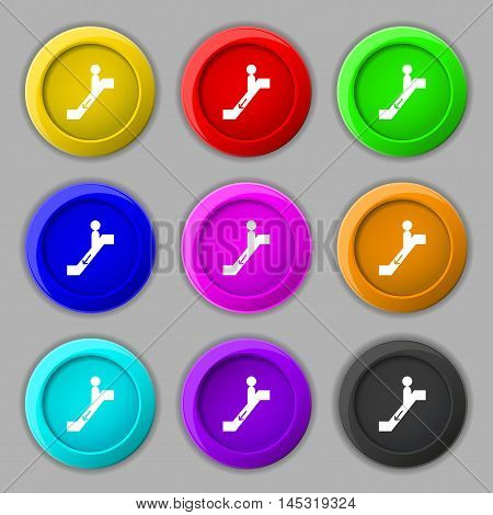 Escalator Down Icon Sign. Symbol On Nine Round Colourful Buttons. Vector