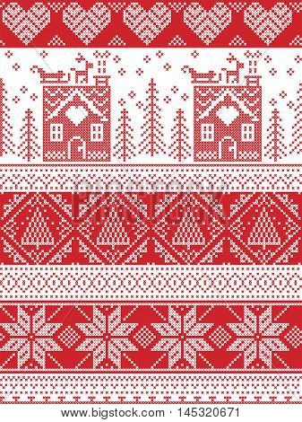 Scandinavian Printed Textile style and inspired by Norwegian Christmas and festive winter seamless pattern in cross stitch with gingerbread house, Christmas tree, heart, reindeer , sleigh, presents