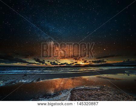 starry sky over Alghero at night Sardinia