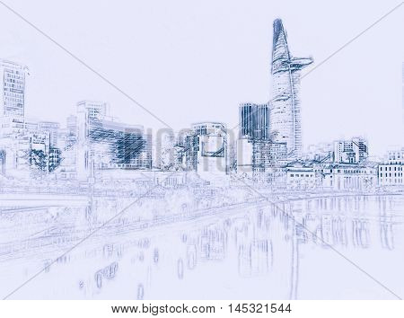 Cityscape of Ho Chi Minh at night with bright illumination of modern architecture, viewed over Saigon river in Southern Vietnam. Painting of travel scene, pencil outlines of background.