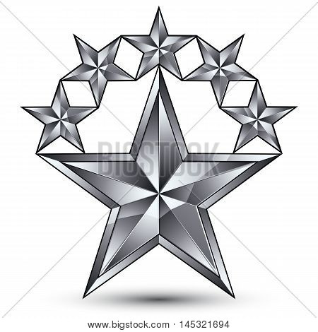 Glamorous vector template with pentagonal silvery star symbol best for use in web and graphic design.