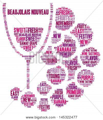 New Beaujolais wine word cloud concept illustration