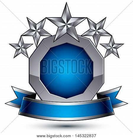 Heraldic 3d glossy blue and gray icon, can be used in web and graphic design five-pointed silver stars placed over rounded magnificent element with elegant ribbon