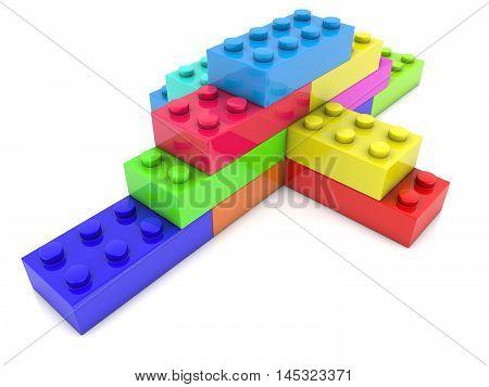 Stacked toy bricks in corner on white . 3D illustration
