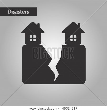black and white style nature house earthquake, vector