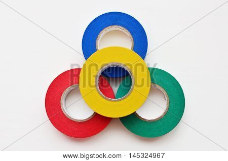 colored insulating tape on a white background