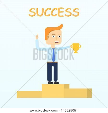 Happy businessman character smiling standing on pedestal pedestal isolated. Success business concept. Modern man holding a golden cup and smiling friendly. Vector illustration in flat design.