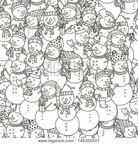 Black and white snowmen seamless pattern. Monochrome christmas background. Great for coloring book, wrapping, printing, fabric and textile. Vector illustration