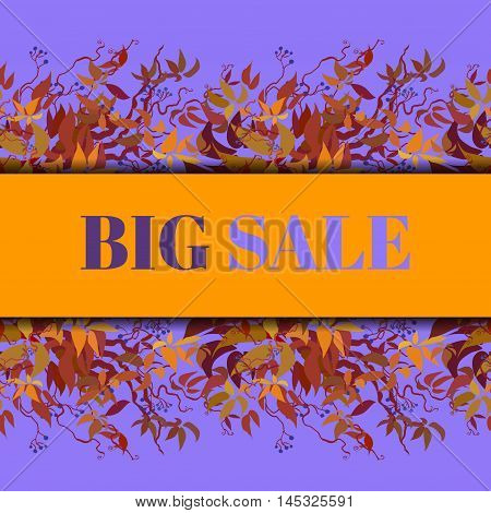 Big sale banner. Autumn grape vine border design. Wilde grape with red orange leaves and berries. Horizontal design. Colorful autumn or fall banner template. Vector illustration stock vector.