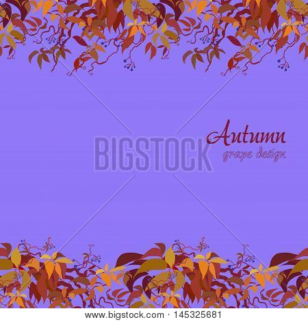 Autumn grape vine border design. Wilde grape with red orange leaves and berries. Horizontal frame design. Colorful autumn or fall banner template. Vector illustration stock vector.