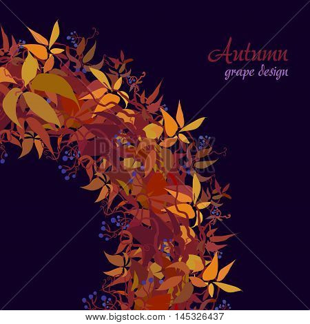 Autumn grape vine circle frame corner design. Wilde grape with red orange leaves and berries. Autumn or fall wreath design on dark background. Vector illustration stock vector.