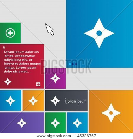 Ninja Star, Shurikens Icon Sign. Buttons. Modern Interface Website Buttons With Cursor Pointer. Vect