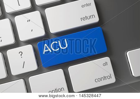 Acu - Average Concurrent Users, Concept Slim Aluminum Keyboard with Acu on Blue Enter Key Background, Selected Focus. 3D Render.