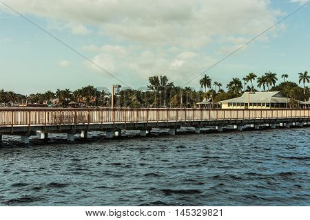 Cape Coral, Florida. View from wooden pier on Cape Coral.