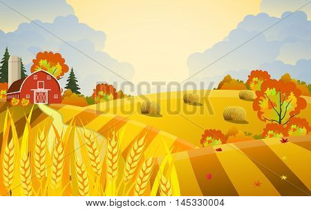 Countryside landscape with haystacks on fields. Farm flat landscape. Organic food concept for any design