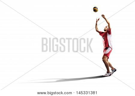 Professional valleyball player in action isolated on white