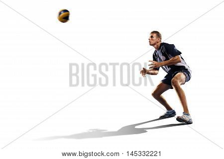 Two professional volleyball players in action isolated on white