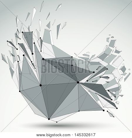 Abstract 3D Faceted Figure With Connected Black Lines And Dots. Vector Low Poly Shattered Design Ele