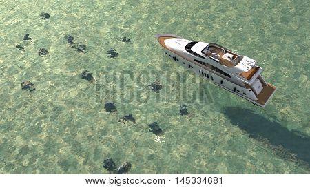 3d illustration of the luxury motor yacht
