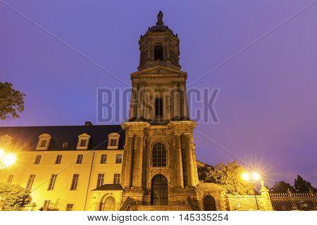 Notre-Dame-en-Saint-Melaine Church in Rennes. Rennes Brittany France