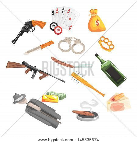 Crime And Money Related Set Of Objects Old School Chicago Mafia Themed Illustration. Cool Colorful Vector Sticker In Stylized Geometric Cartoon Design