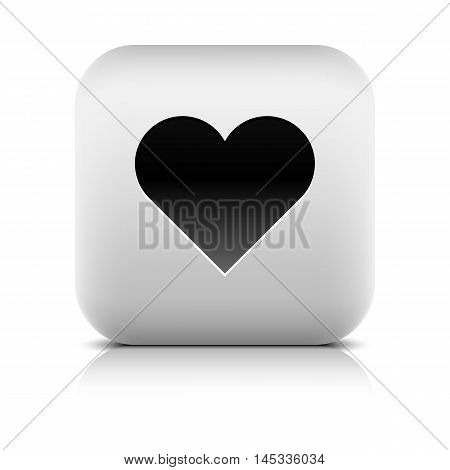 Web icon with heart sign. Rounded square button with black shadow gray reflection on white background. Series in a stone style. Vector illustration graphic clip-art design element in 8 eps