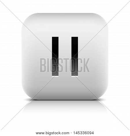 Media player icon with pause sign. Rounded square web button with black shadow gray reflection on white background. Series in a stone style. Graphic vector illustration internet design element 8 eps