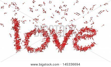 A lot of musical notes falling down and make word love