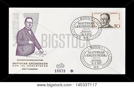GERMANY - CIRCA 1975 : Cancelled First Day Cover letter printed by Germany, that shows Matthias Erzberger.