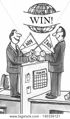 Illustration of two businessmen, both have successfully won at the negotiation.