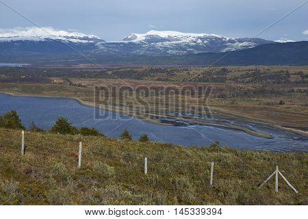 Bahia de San Juan on the coast of the Magellan Strait viewed from Fuerte Bulnes in Patagonia, Chile.