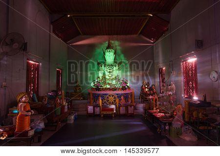 LAMPANG THAILAND -JULY 19 2016: Wat Doi Wang Hua Temple.Phosphorescent Buddha image in Lampang Province Thailand.