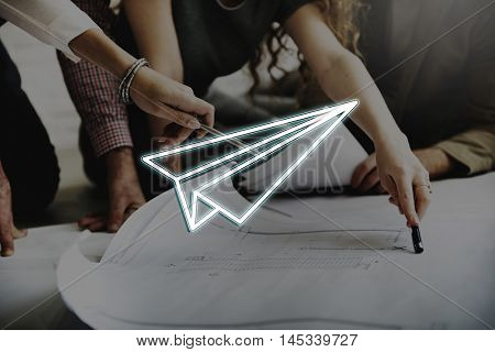Business Startup Paperplane Launch Concept