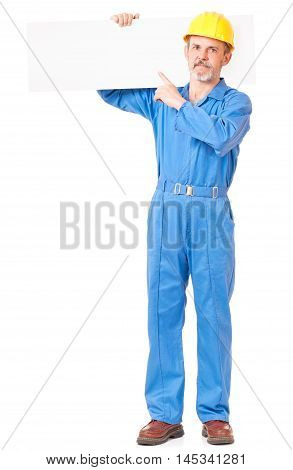 Adult worker in a uniform with blank billboard on white background