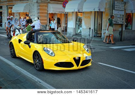 Santa Margherita Italy - August 272016: Alfa Romeo 4C Spider on testdrive Alfa Romeo Summer Tour 2016 in Santa Margherita.