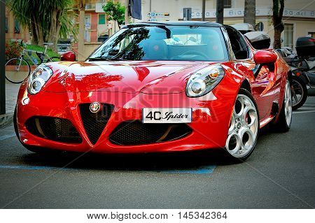 Santa Margherita Italy - August 272016: Alfa Romeo 4C Spider on Alfa Romeo Summer Tour 2016 in Santa Margherita.